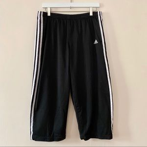 Adidas Black Track Pants 3 Stripe Cropped